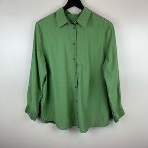 J. Jill Long Sleeve Green Button Up Blouse Medium